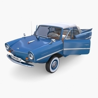 Amphicar 770 Blue w Interior Top Up 3D Model
