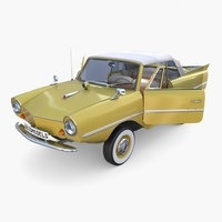 Generic 60s Amphibious w Interior Car Top up 3D Model