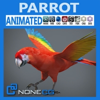 Animated Red Parrot 3D Model