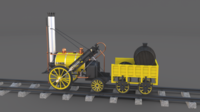 The Stephenson Rocket Locomotive 3D Model