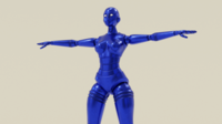 Blue Robot Woman 3D Model