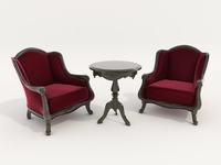Classic Armchair and Coffee Table 3 3D Model