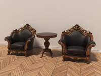 Classic Carving Armchair and Table 3D Model