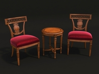 European Style Carving Chair and Table 3D Model