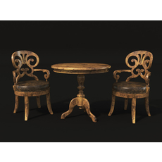 Wine Table and Chair 3D Model
