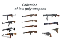 Collection of low poly weapons 3D Model