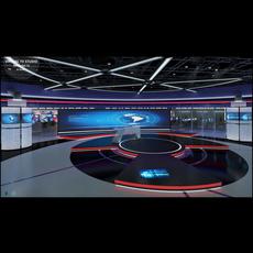 Virtual TV Studio News Set 31 3D Model