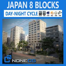 Japan 8 Blocks - 34 Buildings 3D Model