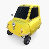 Peel P50 Yellow with chassis 3D Model