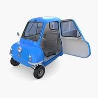 Peel P50 Blue with interior and chassis 3D Model