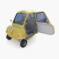 Generic 50cc Microcar with interior and chassis 3D Model