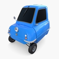 Peel P50 Blue with chassis 3D Model